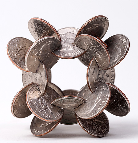 Interlocked Coin Sculpture