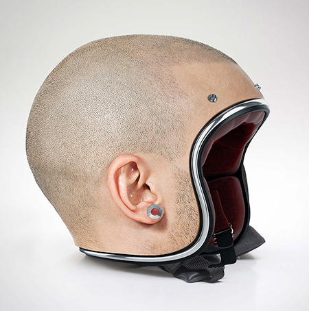 Realistic Human Head Helmet