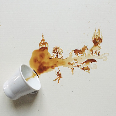 Spilled Coffee Art by Bernulia