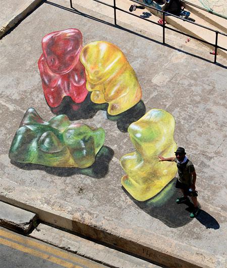 Gummy Bears 3D Street Art