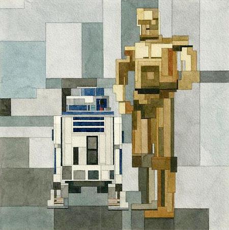 8-Bit R2-D2 and C-3PO