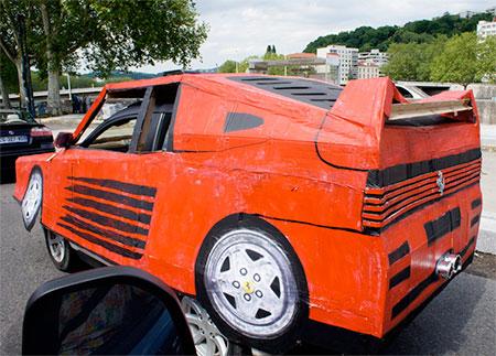 Ferrari Made of Cardboard