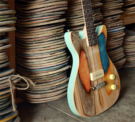 Guitar Made from Skateboards