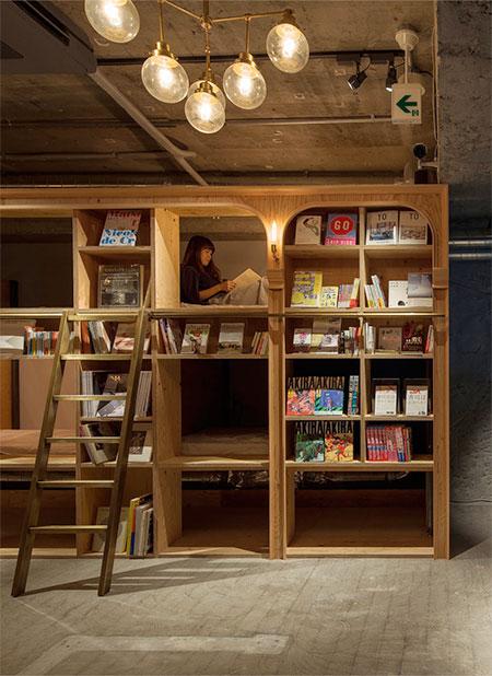 Bookstore Hostel in Japan