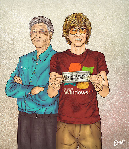 Young and Old Bill Gates