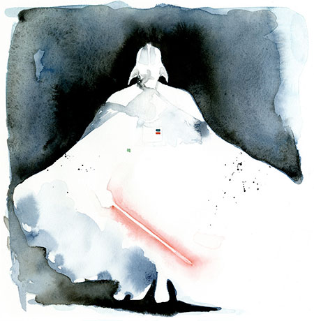 Darth vader watercolor painting