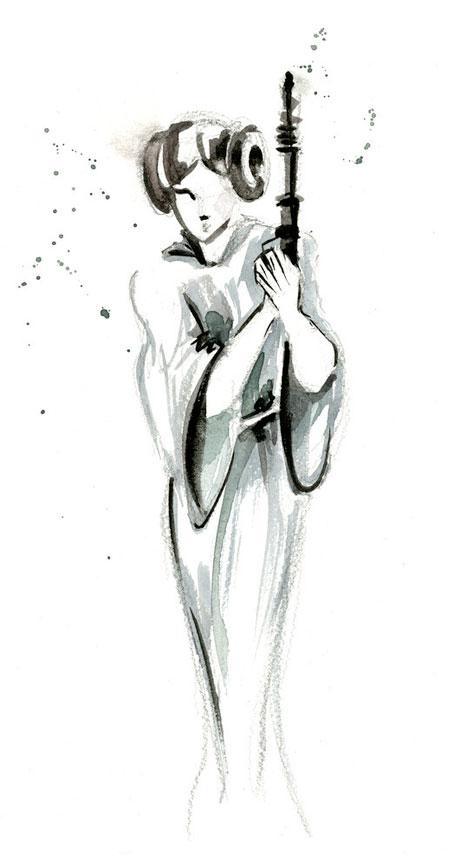 Princess Leia Watercolor Painting