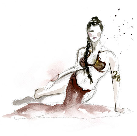 Slave Leia Watercolor Painting