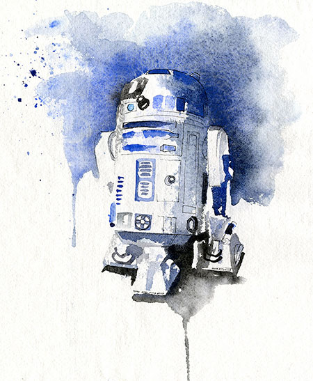 R2-D2 Watercolor Painting