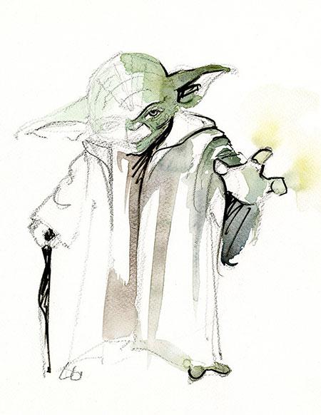 Yoda Watercolor Painting