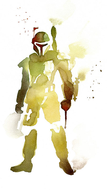 Boba fett watercolor painting
