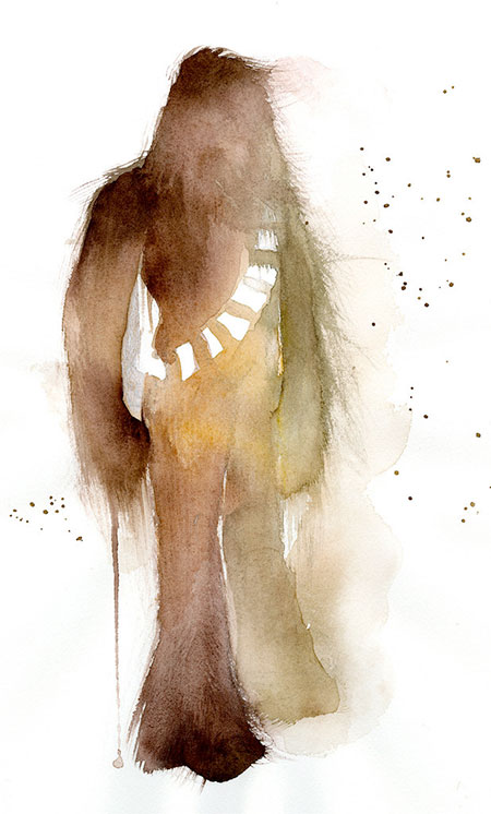 Chewbacca Watercolor Painting