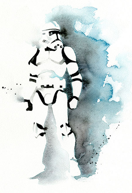 Stormtrooper watercolor painting