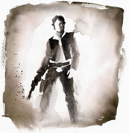 Han Solo Watercolor Painting