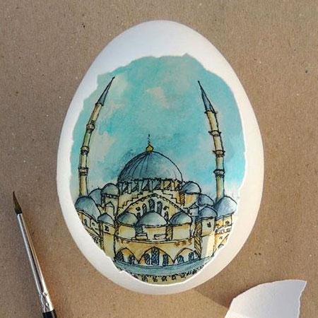 Sureyya Noyan Eggshell Painting