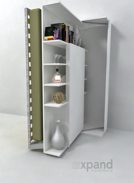 Revolving Bookshelf Wall Bed