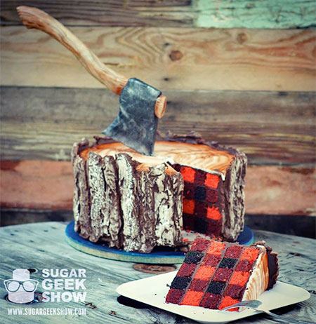 Tree Trunk and Axe Cake