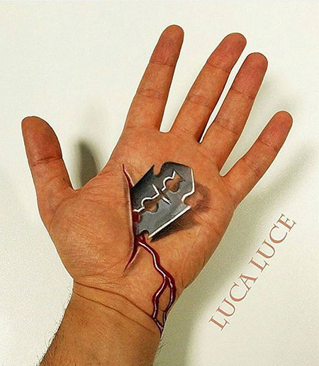 Optical Illusion Hand Painting