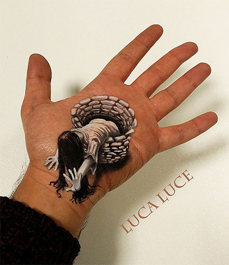 Luca Luce Optical Illusion Hand Painting