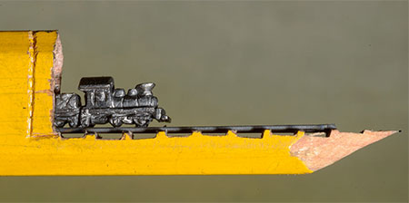 Train Pencil Lead Carving