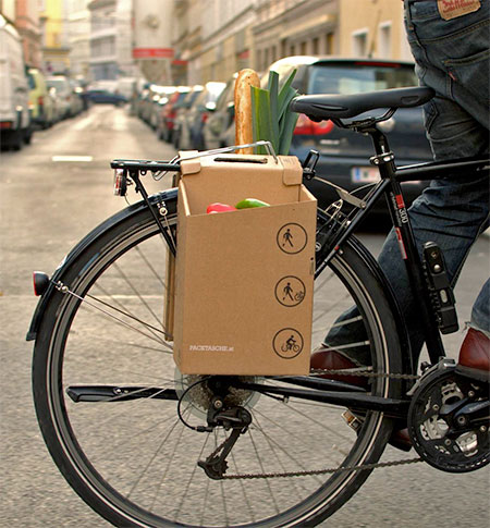 Cardboard Bicycle Grocery Carrier