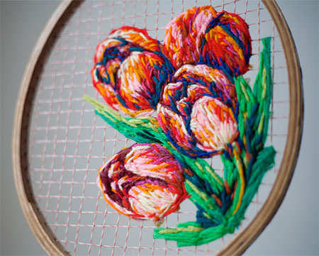 Embroidered Badminton Rackets