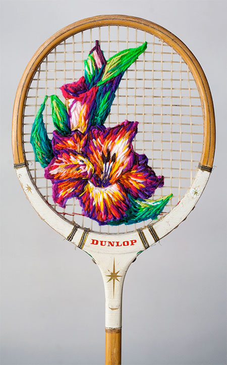 Embroidered Badminton Racquet