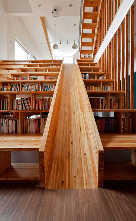 Library staircase with a slide - Staircases with integrated bookshelves ...