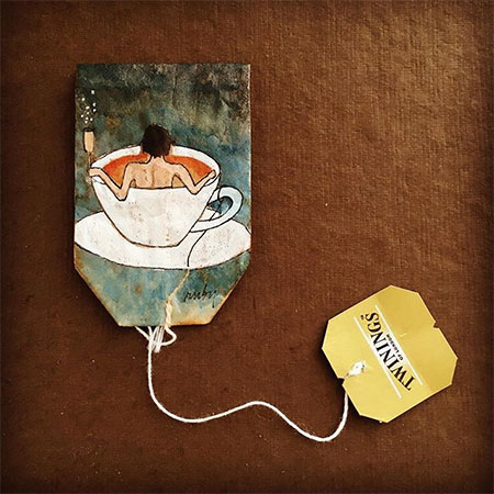 Recycled Tea Bag Art