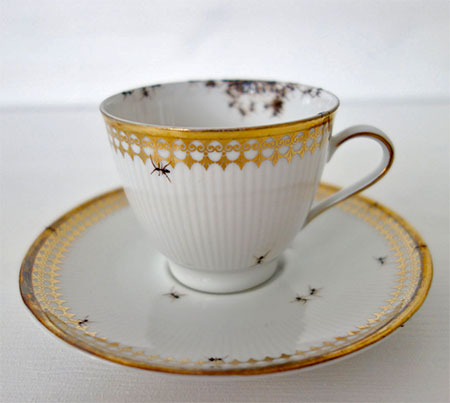 Vintage Porcelain Covered with Ants