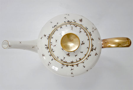 Vintage Porcelain Covered with Hand Painted Ants