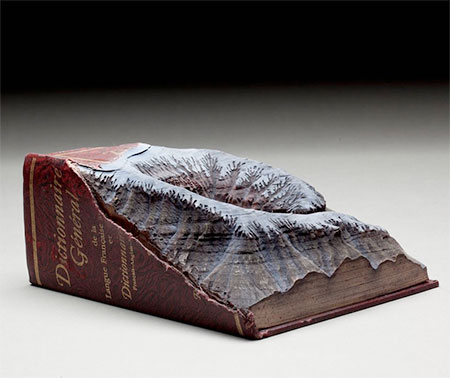 Snowy Mountains Carved into Books