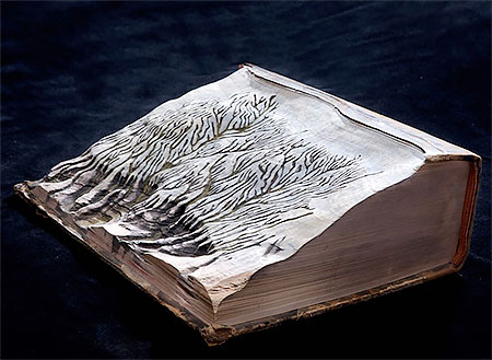 Guy Laramee Snow Covered Book Mountains