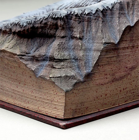 Guy Laramee Snowy Mountains Carved into Books