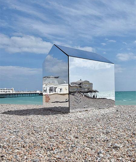 Mirrored Beach Hut