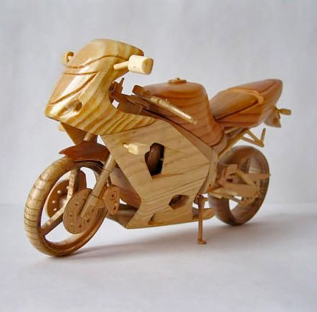 Miniature Wooden Motorcycle