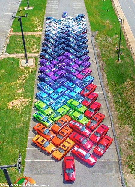 Dodge Challenger Car Rainbow