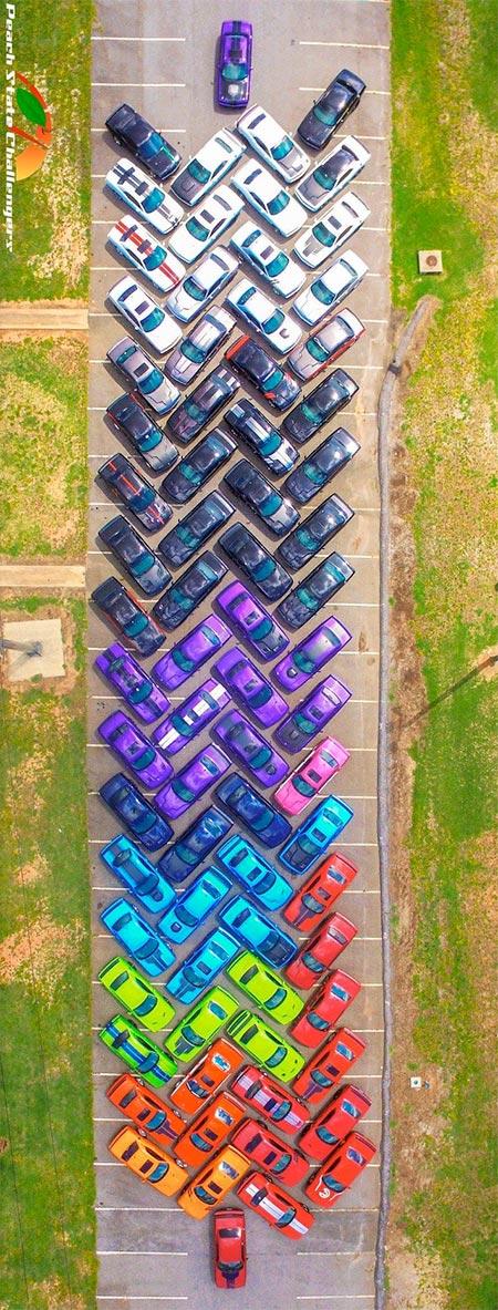 Rainbow Made of Cars