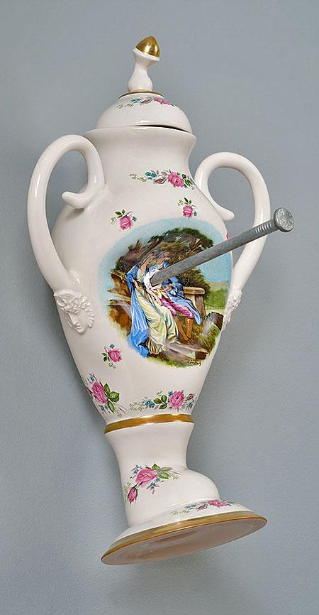 Laurent Craste Destroyed Porcelain Vases