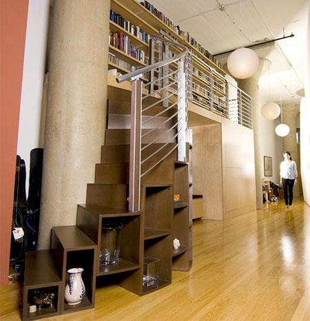 Bookshelf Spiral Stairs