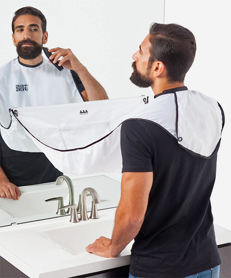 beard trimmer with hair catcher man bathroom beard apron trimmer hair catcher gown robe tested. Black Bedroom Furniture Sets. Home Design Ideas