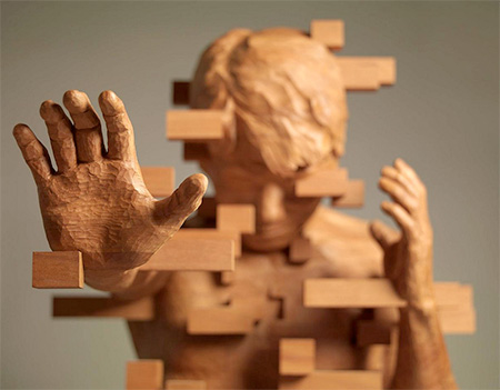 Pixelated Wood Sculptures