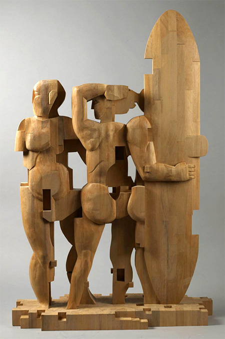 Pixelated Wooden Sculpture