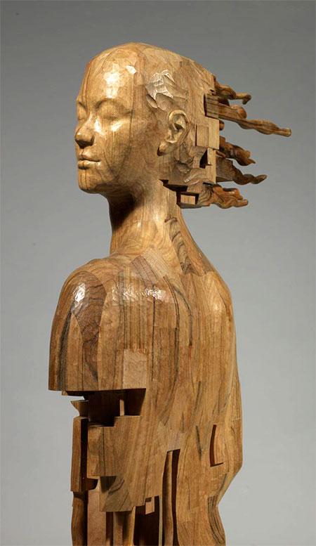 Pixelated Wood Sculpture
