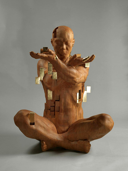 Hsu Tung Han Pixelated Wooden Sculptures