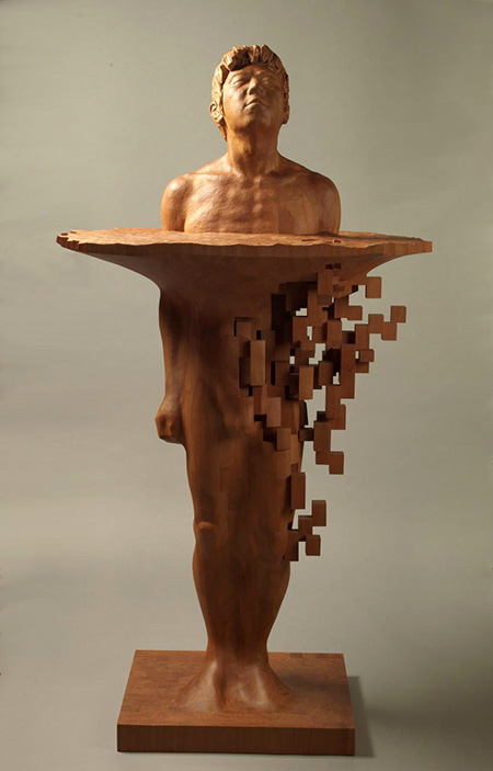 Hsu Tung Han Pixelated Wood Sculptures