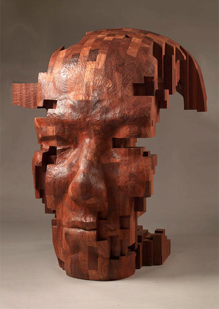 Hsu Tung Han Pixelated Wooden Sculpture
