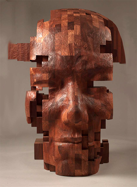 Hsu Tung Han Pixelated Wood Sculpture