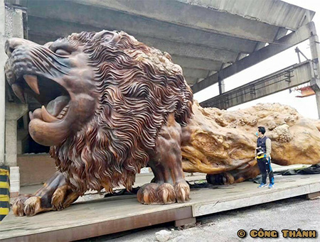 Giant Wooden Lion
