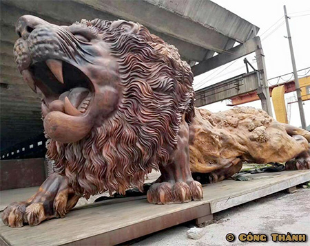 Giant Lion Wooden Sculpture